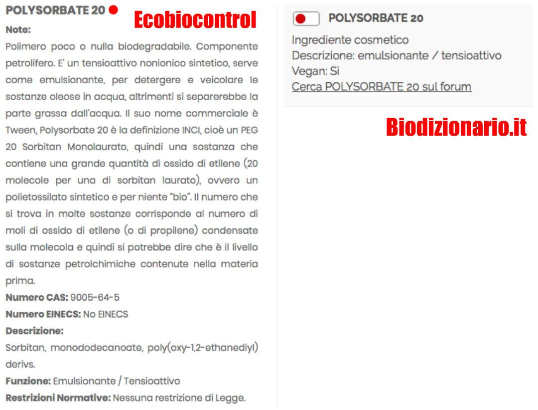 polysorbate20 biodizionario